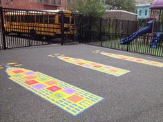 View our complete range of large floor, recess and playground stencils. Hopscotch, foursquare, sensory paths and more. Custom stencils are our specialty. Playground Games, Outdoor Playground, Large Stencils, Custom Stencils, Paint Games, Pe Activities, Sensory Garden, Stenciled Floor, Floor Stickers
