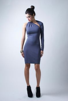 Unique One Shoulder Long Sleeve Dress   Donation by marcellamoda, $75.00