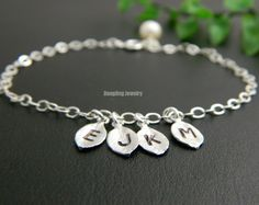 Personalized Mothers Bracelet FOUR Initial by DanglingJewelry, $30.00