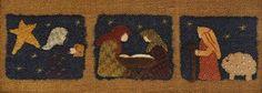Primitve Folk Art Wool Applique Pattern - A Midnight Clear Framed Wool Art - Winter Holiday Nativity Shepherd Wiseman