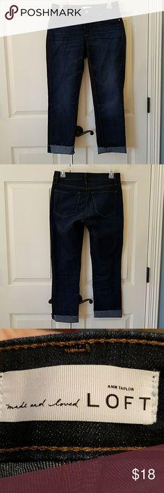 "LOFT Curvy Straight Leg Jeans EUC Dark wash, unhemmed, straight leg jeans in curvy fit. Inseam 27"".   Only worn once.  No flaws. LOFT Jeans Straight Leg"
