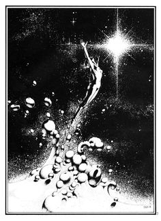 """Drawings by Philippe Caza, """"Hydrogenesis"""" from Heavy Metal vol 2 #10"""