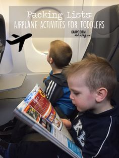 Airplane Activities for Toddlers and Preschoolers - check out these tips for your next flight with kids from www.carpediemourway.com - flying with kids
