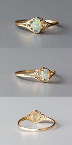 Size Free Gift Bag/Box with every order! Every Opal piece is Unique. You won't find two exactly identical opal gems because of their unrepeatable play-of-color. Being worn frequently can help opal to acquire the necessary humidity from the air as wel Opal Diamond Engagement Ring, Vintage Engagement Rings, Vintage Rings, Vintage Style, Vintage Yellow, Oval Engagement, Ring Set, Ring Verlobung, Opal Edelstein