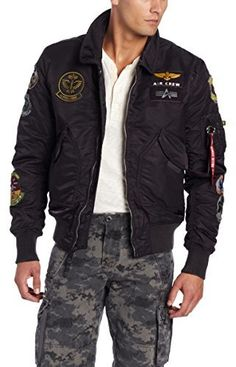 Alpha Industries Men's CWU Pilot X Flight Jacket, The adapted 45/p is a vintage military aviation jacket. Cwu is short in the military for cold weather uniform. The original 45/p was made for winter weather. The front zipper closure features a storm flap.
