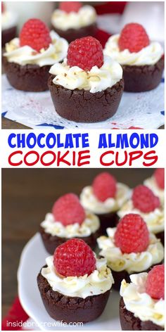 These little chocolate cookie cups are filled with almond frosting and have a fresh raspberry on top.