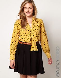 ASOS CURVE Exclusive Pussybow Shirt In Heart Print