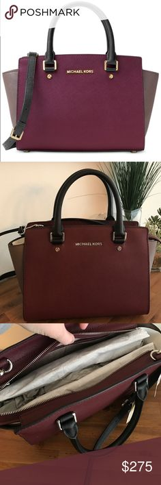 """NWT Michael Kors Selma medium plum satchel Offering up a smart, structured shape and subtle logo detailing, it strikes a high-fashion chord, while promising a smart sensibility season after season. Carry it at the crook of the arm for a major statement, or across the chest as a carefree crossbody.                    -100% Leather  -Top Handle: 4.5""""  -Adjustable Strap: 17.5-19.5""""  -Interior: 1 Inside Zip Pocket, 2 Open Inside Pockets  -13 X 8 X 4""""  -Top Zip  -100% Polyester Lining Michael…"""
