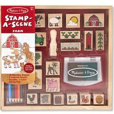 Farm: Stamp-a-Scene Wooden Stamp Set FREE Melissa and Doug Scratch Art Mini-Pad Bundle * You can find more details by visiting the image link. Kids Stamps, The Barnyard, Scratch Art, Stamp Pad, Melissa & Doug, Farm Theme, Coloured Pencils, Stamp Making, Farm Yard