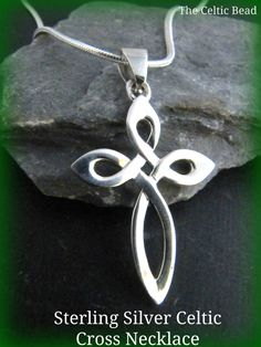 Sterling Silver Irish Knot Cross Necklace by TheCelticBead on Etsy