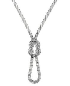 Sequin Silver-Tone Mesh Knot Necklace