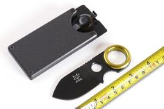 FOX Mini Rescue Buckle Knife,5CR15MOV Blade Black Titanium Survival Knife,Small Fixed Knives.Pocket Outdoor Tools.