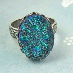 Blue Adjustable Ring Teal Starburst Silver by NicolettesJewelry, $21.00