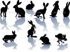 Кролик силуэты с отражениями — Векторное изображение © Dr.PAS #6328247