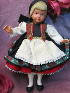 "ANTIQUE 1930's German CELLULOID Doll PEASANT dress ETHNIC costume Human Hair 9""  picclick.com"