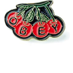Obey Cherry Pin ($10) ❤ liked on Polyvore featuring jewelry, brooches, initial pins brooches, pin brooch, initial jewelry, obey clothing and letter jewelry