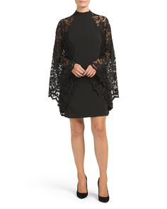 Lace Batwing Sleeve Party Dress