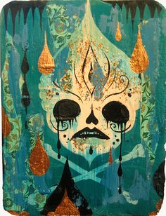 From Jonathan LeVine Projects, Camille Rose Garcia, Poison Skull Acrylic and gold leaf on panel, 7 × 5 in Crane, Camilla Rose, Camille Rose Garcia, Lowbrow Art, Cycling Art, Pop Surrealism, Retro Art, Dark Art, Unique Art