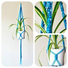 Blue Macrame Plant hanger  Cubist pattern by TheVintageLoop, $29.00