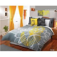 Yellow Gray White Comforter Duvet Sheets Bedding Set Full 11 Pcs - I just like the yellow, black, and white look