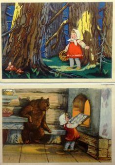 Fox and Bear,Soviet vintage,illustration Sazonova 1962 Congratulation postcard