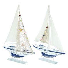 Woodland Imports 2 Piece Aquatic Fauna Sailing Model Boat Set