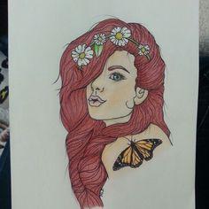 Hipster. Tattoo idea. Drawing. Hippie. Hippie girl. Hipster girl by mackenzie frenze