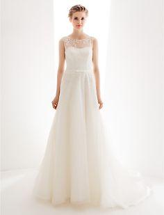 a-line prinsessa juvel svep / pensel tåg spets brudklänning med gratis docka - USD $ 247.99
