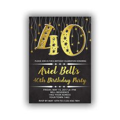 Items similar to Gold Happy Birthday Invitations Chalkboard black Cards 5 x 7 inch Milestone birthday Eat drink be forty Cheers to 45 on Etsy Diy Banner, Year Quotes, Black Card, Milestone Birthdays, Birthday Celebration, Chalkboard, Happy Birthday, Invitations, Personalized Items