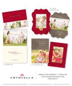 Holiday Card Templates  Three Piece Set  Photoshop by FOTOVELLA, $18.00