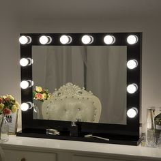 Chende Tabletop Makeup Mirror with Lights, Hollywood Vanity Wall Mounted Mirror Set for Dressing Modern Makeup Vanity, Makeup Vanity Mirror, Makeup Mirror With Lights, Vanity Set, Hollywood Room, Hollywood Lights, Bulb Mirror, Mirror Set, Hollywood Makeup Mirror