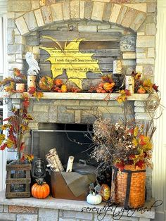 Fall Stone Fireplace decor idea.... the sign is awesome!