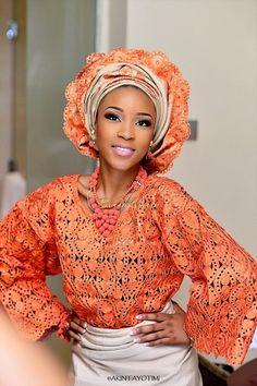 Nigerian Yoruba bride in Orange Buba (Top) lace, Gold Aso-Oke Iro (wrapper/bottom) and Gold/Orange Gele ( Head tie) Beads By Geebalo. African Wear, African Attire, African Women, African Dress, African Style, Nigerian Traditional Wedding, Dreads, African Wedding Dress, African Weddings