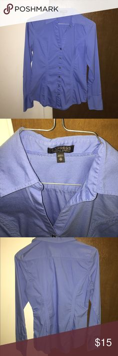 Express Essential-Stretch Button-Down Blue button-down, excellent condition, only worn a few times, no loose or missing buttons, essential-stretch fit, only had minor scratches on sleeve cuffs. You can bundle this with the pink one I have posted-same style and size. Express Tops Button Down Shirts