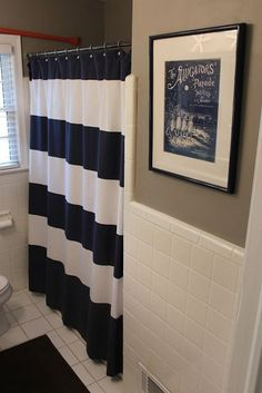 Black and white stripes with tan for a bathroom