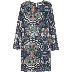 Patterned Dress $24.99 (630 UAH) via Polyvore featuring dresses, mixed print dress, mini dress, long sleeve pattern dress, print dress и woven dress