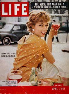 Life Magazine Copyright 1957 Marie-Helene Arnaud - Mad Men Art: The Vintage Advertisement Art Collection Life Magazine, People Magazine, Magazine Stand, News Magazines, Vintage Magazines, Life Cover, Tv Guide, Magazine Covers, 1950s