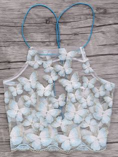 Backless Butterfly Embroidery Spaghetti Straps Crop Top WHITE: Tank Tops | ZAFUL