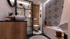 Stylish art for black and white bathroom that will blow your mind White Bathroom Accessories, White Bathroom Decor, Bathroom Design Small, Bathroom Colors, Black And White Master Bathroom, Black White Bathrooms, Morrocan Bathroom, Bohemian Bathroom, Living Room Victorian House