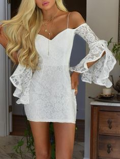 Custom Made Feminine Lace White Homecoming Dresses Sheath Off-the-Shoulder Bell Sleeves Short White Lace Homecoming Cocktail Dress Lace Party Dresses, Sexy Dresses, Short Dresses, Fashion Dresses, White Homecoming Dresses, Prom Dresses, Nova Dresses, Summer Dresses, White Cocktail Dress