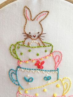 Bunny and Her Teacups Hand Embroidery PDF Pattern Instant image 1 Hand Embroidery Videos, Embroidery Stitches Tutorial, Hand Embroidery Flowers, Baby Embroidery, Hand Embroidery Patterns, Cross Stitch Embroidery, Simple Embroidery, Creeper Minecraft, Sewing Projects