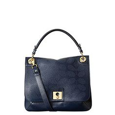 Sixties Stem Punched Leather Ivy Bag Navy