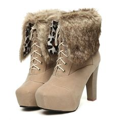 Winter Round Toe Chunky High Heel Lace Up Ankle Feathers Apricot PU Cavalier Boots Chunky High Heels, High Heel Boots, Heeled Boots, Ankle Boots, Dream Shoes, Crazy Shoes, Me Too Shoes, Cavalier Boots, Cheap Womens Shoes