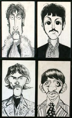 BEATLES: Fab Four (John, Paul, George & Ringo) CARICATURE: