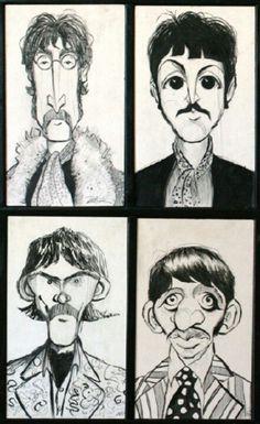 BEATLES: Fab Four (John, Paul, George & Ringo) CARICATURE: