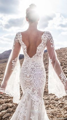 lian rokman 2017 bridal long bell sleeves deep plunging v neck full embellishment elegant sexy mermaid wedding dress open v back chapel train (moonlight) zbv -- Lian Rokman 2017 Wedding Dresses
