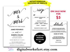 Wedding Invitation Template Mr and Mrs by digitalworkofart on Etsy