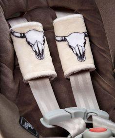 Beige Bull's-Eye Minky Reversible Strap Covers