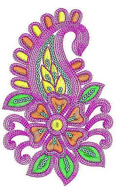Paisley & Floral Cording Sequins Embroidery Design