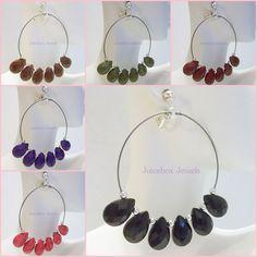 CLIP ON 2.25 inches Hoop Dangle Color Teardrop Bead Handmade Fashion Earrings  #Handmade #Hoop #cliponearrings